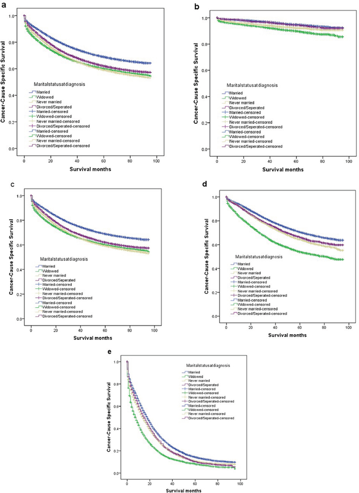 Survival curves in colorectal patients according to marital status.