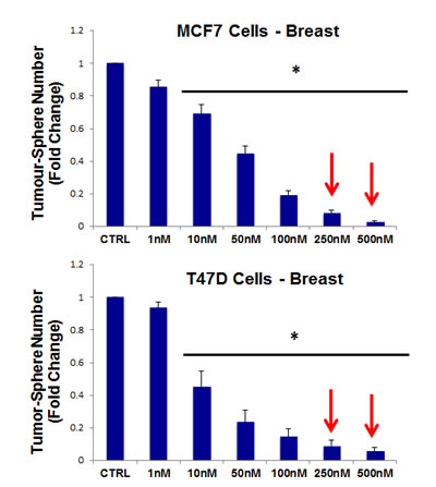 Pyrvinium pamoate dose-dependently inhibits tumor-sphere formation in MCF7 and T47D cells, two commonly used ER(+) breast cancer cell lines.