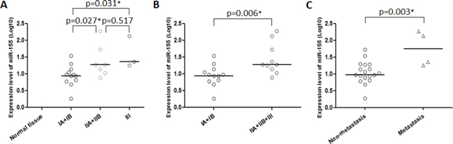 miR-155 expression is correlated with stage and metastatic potential in chordoma.