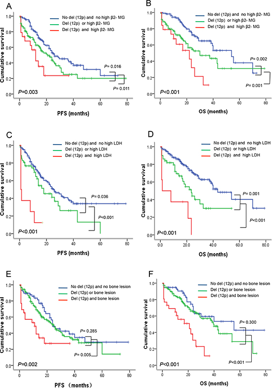 Del(12p13) combined with high β2-MG, high LDH and bone lesion can further divide patients into subpopulations with different risk features.