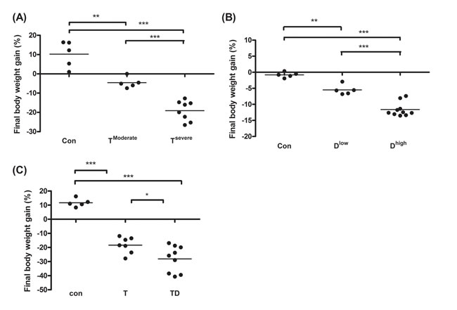 Final body weight gain for line-1, docetaxel or combined treatment mice.