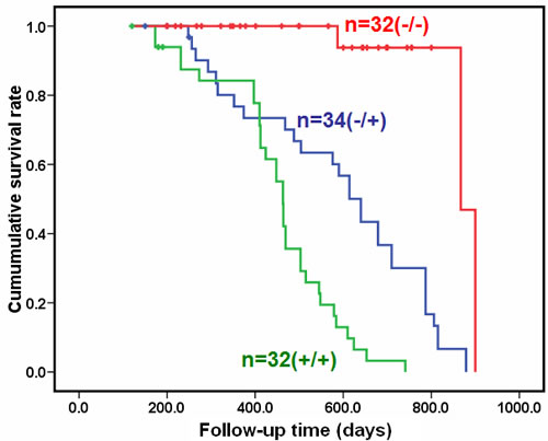 The overall survival comparison for the homozygous and hemizygous αAT2 transgenic mice.