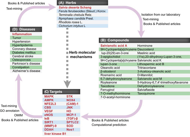 The interrelationships among CEMTDs, chemical compounds, targets and treated diseases.