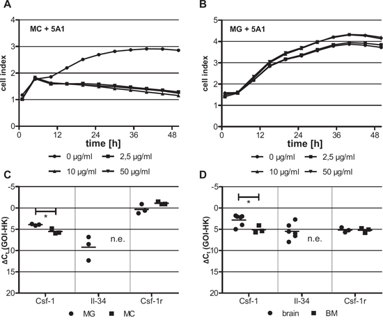 Differing cytotoxicity of 5A1 on distinct macrophage populations is correlated with differing growth factor expression.