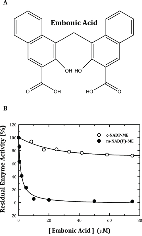 Chemical structure of embonic acid (EA) and inhibitory effect of EA on human m-NAD(P)-ME and c-NADP-ME.