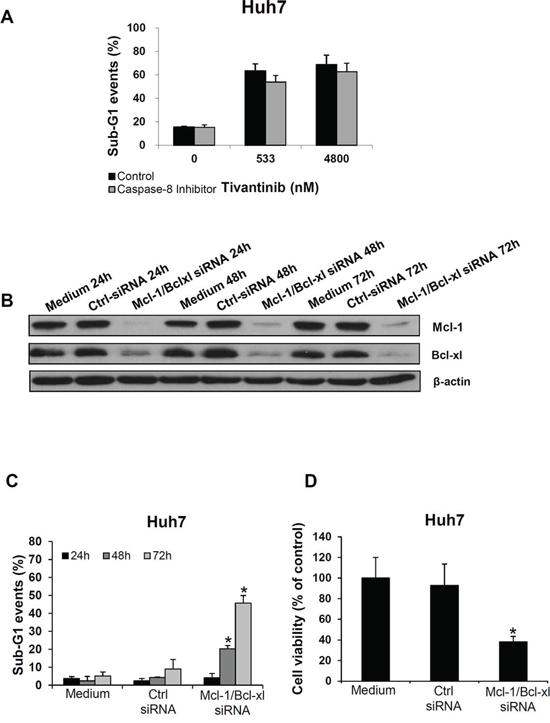 Mcl-1 and Bcl-xl play a functional role in determining the apoptotic effect of tivantinib.
