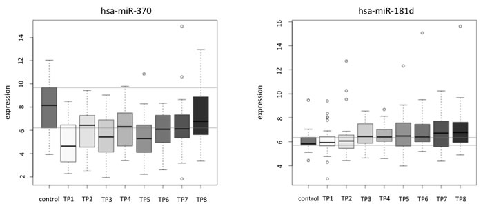 Examples of the correlation analysis of miRNA pattern over time for single miRNAs shown for each patient separately.