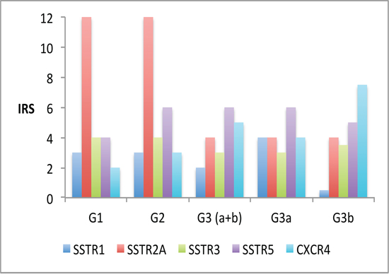Overview over the SSTR-subtype distribution (median values) within the different tumor groups (G1–G3)