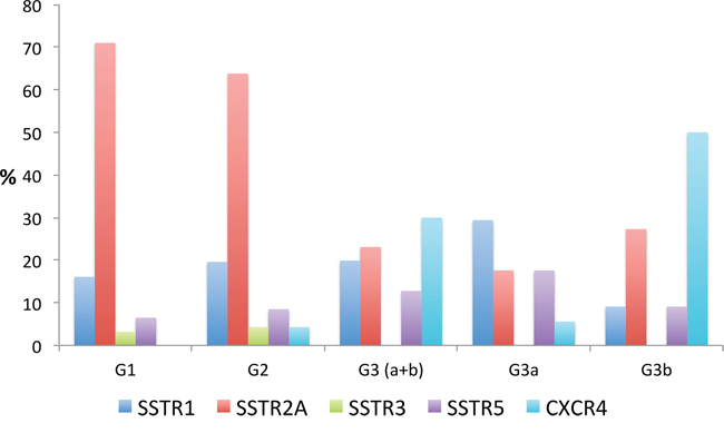 Percentage of positive cases with a strong SSTR subtype and CXCR4 expression (IRS > 8 points) within the different tumor groups (G1 – G3)