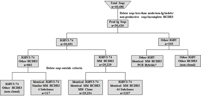 Algorithm for analyzing IGHV sequences (seqs) obtained from MM DNA sample.