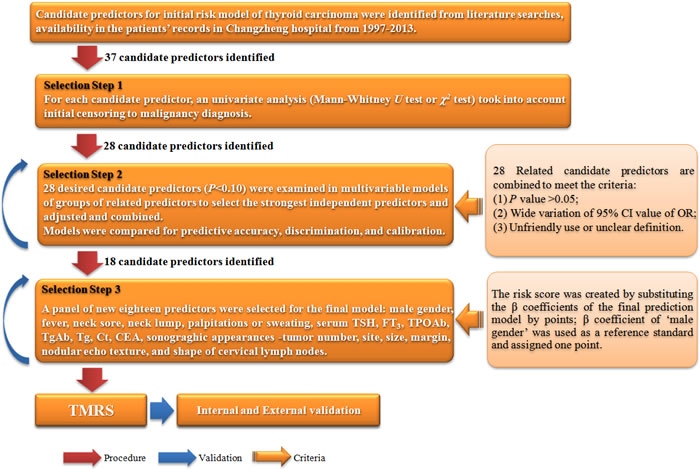 Flow chart of analytic steps in the establishment of TMRS.