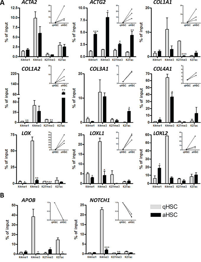 Histone H3 methylation and acetylation occupancy on promoters of aHSC- and qHSC-associated genes.