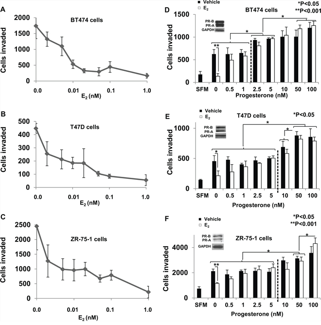 Dose response of regulation of breast cancer cell invasiveness by estrogen and progesterone.