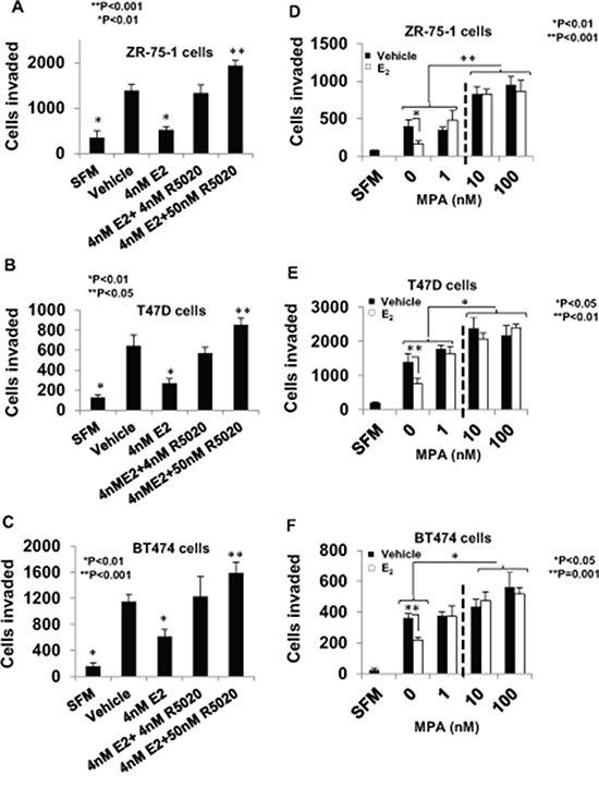 Regulation of breast cancer cell invasiveness by pre-menopausal concentrations of estrogen and progestin and dose-dependent effects of medroxyprogesterone acetate.