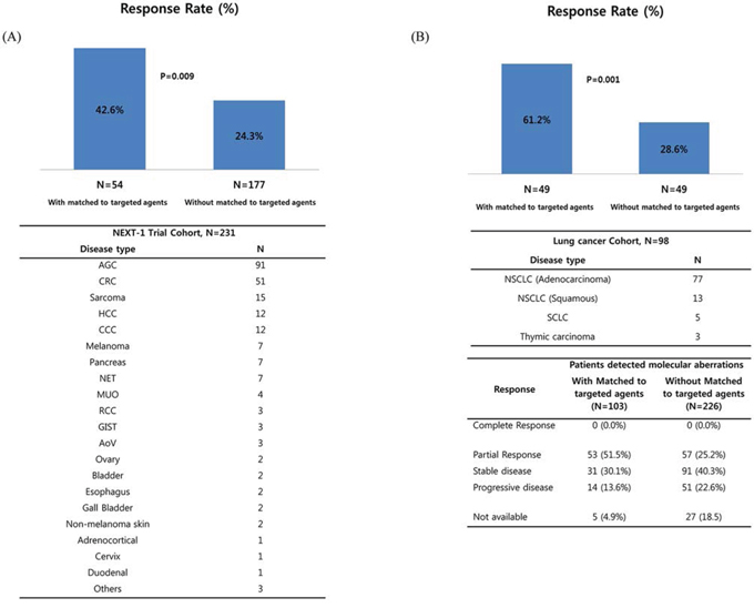 Efficacy data based on molecular profiling. Response rate according to the matched treatment in the NEXT-1 trial cohorts.