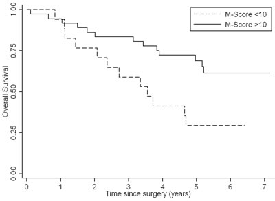Overall Survival Curves for Lung Adenocarcinoma Patients by M-score.
