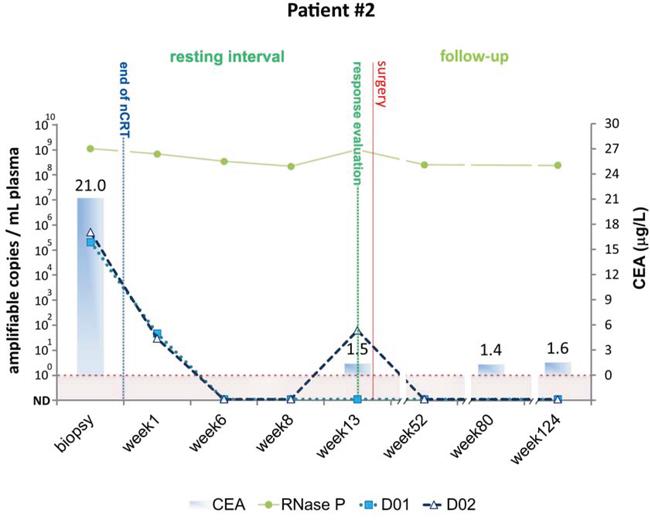 Detection of tumor-specific chromosomal rearrangements in liquid biopsies from Patient #2.