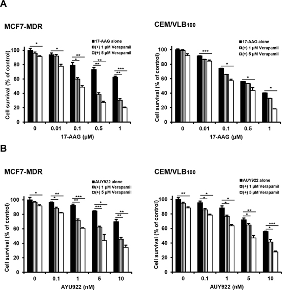 Potentiation of cytotoxicity of Hsp90 inhibitors in MDR cells by P-gp inhibitor verapamil.