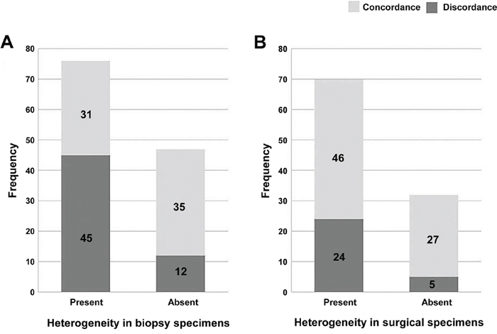 Heterogeneity in paired biopsy and resection specimens.