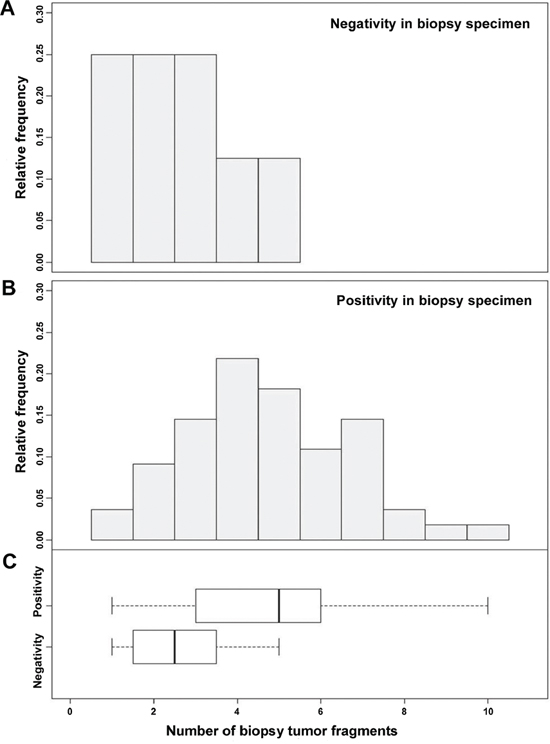 Positive predictability of HER2 status in biopsy specimens was significantly correlated with the number of fragments (P = 0.0052).