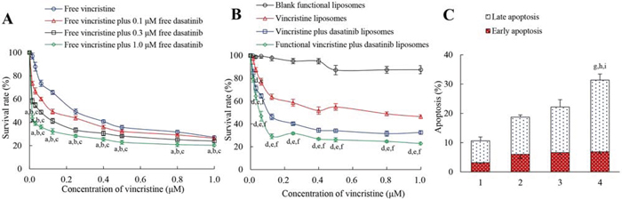 Inhibitory effect and induced apoptosis of MDA-MB-231 cells after treatment with functional vincristine plus dasatinib liposomes.