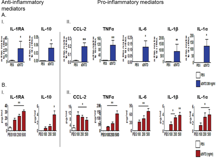 a2NTD treatment regulates gene and protein expression of pro- and anti-inflammatory cytokines in neutrophils.