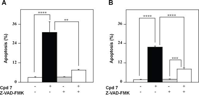 Effect of Z-VAD-FMK, a pan-caspase inhibitor, on the apoptotic process induced in melanoma cells by compound 7.