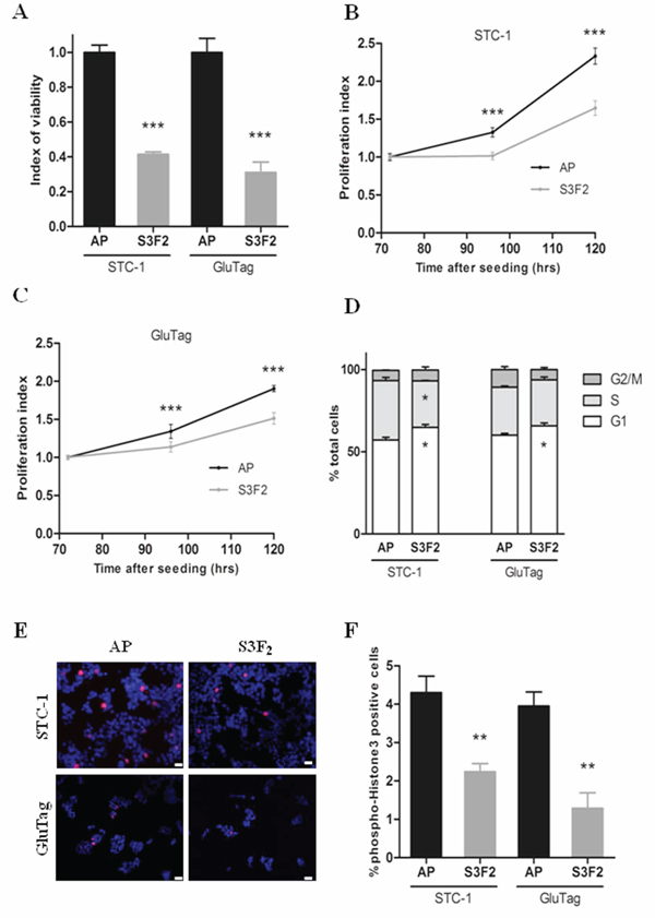 SEMA3F decreases cell viability and proliferation of tumoral cell lines.
