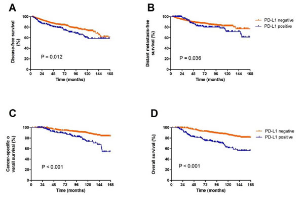 Survival analysis according PD-L1 expression(A, DFS; B, DMFS; C, cancer-specific OS; D, OS)