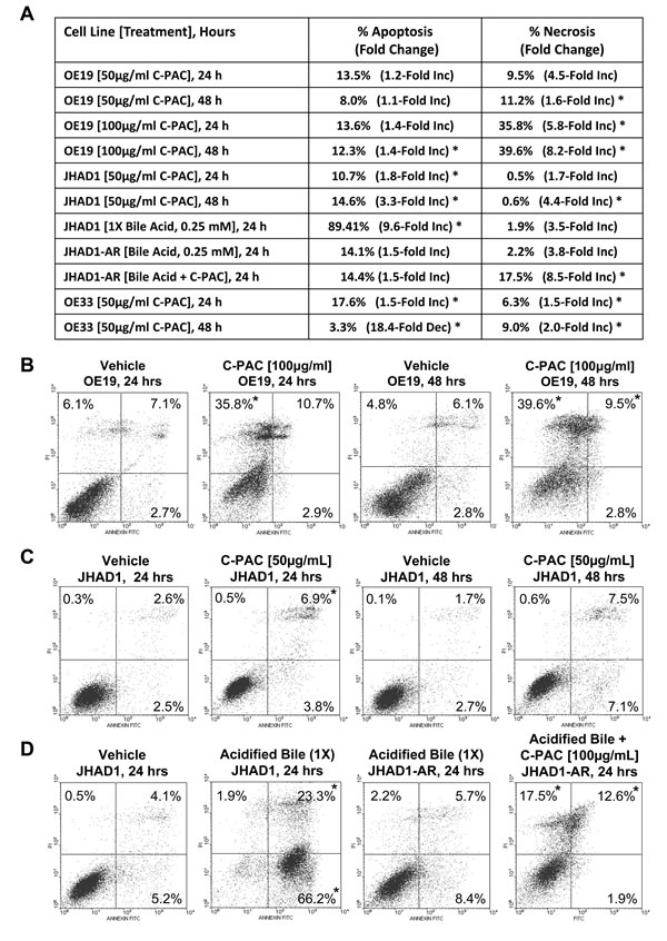 C-PAC differentially induced EAC cell line death based on acid-resistance.