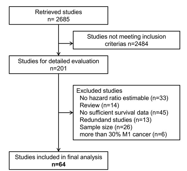 Flow diagram showing the selection process for relevant studies