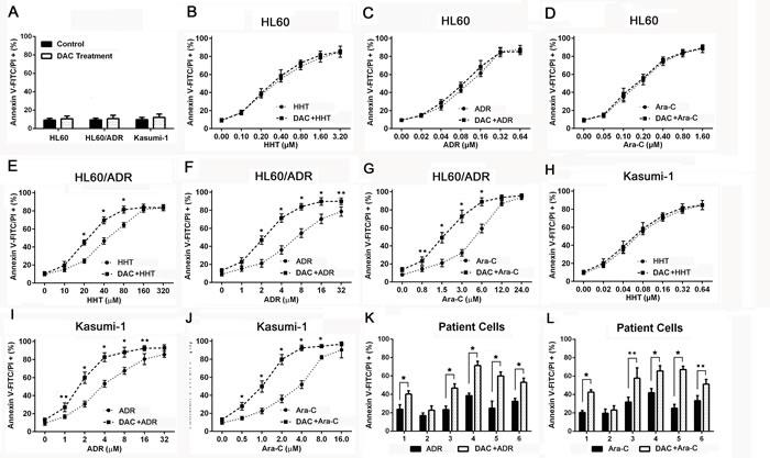 Decitabine enhanced drug induced apoptosis in chemoresistant AML cells.