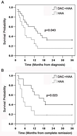 Kaplan-Meier estimation of OS and DFS in AML patients.