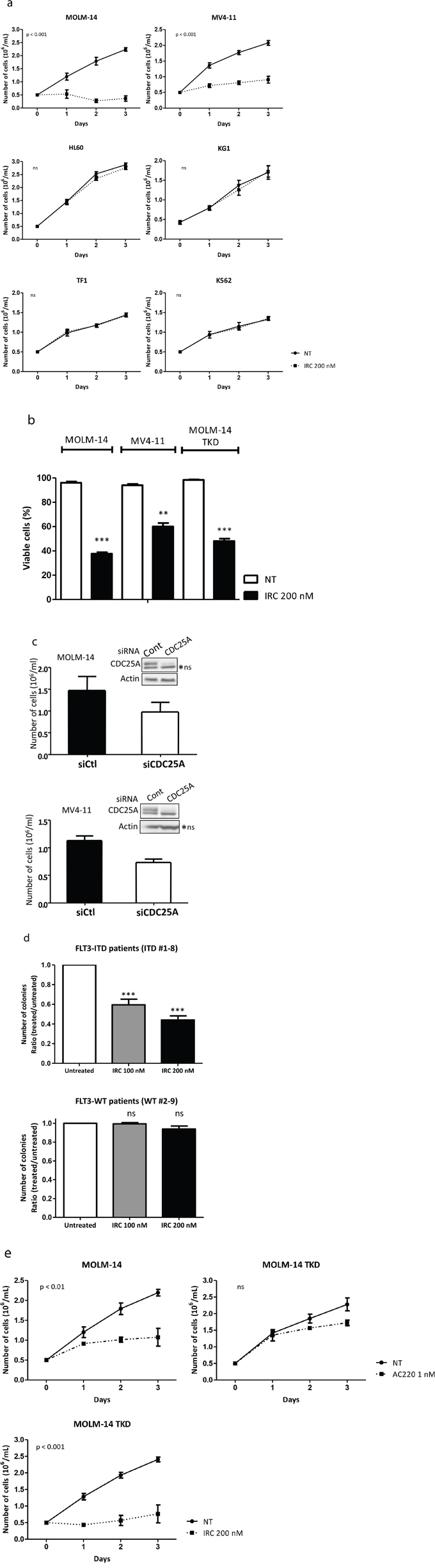 CDC25A is an important determinant of FLT3-ITD leukemic cells proliferation.