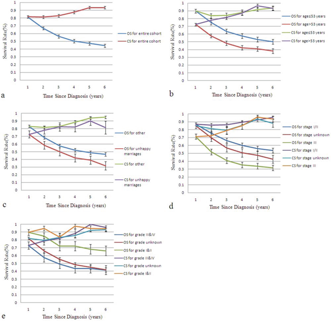 Kaplan-Meier curves for overall survival and conditional survival.