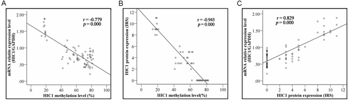 Correlation of HIC1 methylation with its expression.