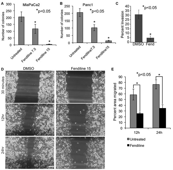 Fendiline inhibits anchorage-independent growth, migration and invasion of cancer cells: