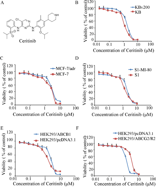 The structure of Ceritinib and cytotoxicity of Ceritinib.