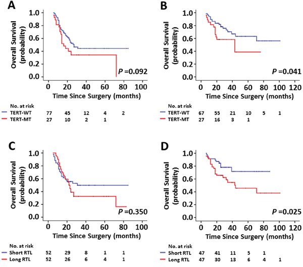 Kaplan-Meier estimates of overall survival by the mutational status of TERT promoter and the RTL.