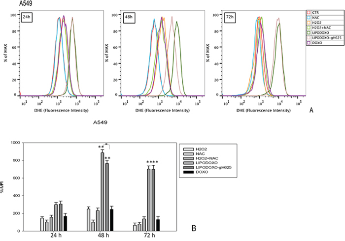 Evaluation of oxidative stress in A549 cells after 24, 48 and 72 h of treatment with LipoDoxo, LipoDoxo-gH625 and Doxo.