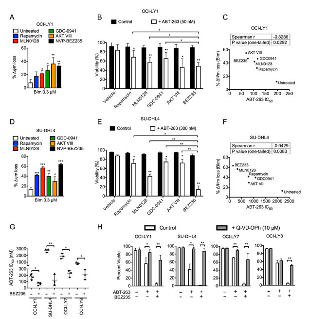 PI3K pathway inhibition increases mitochondrial priming and enhances efficacy of ABT-263 in DLBCL cell lines.