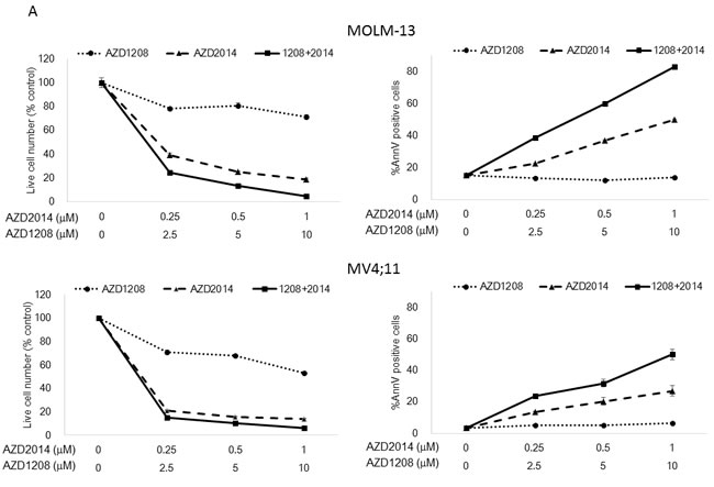 Synergistic interaction between AZD1208 and AZD2014 in AML cells.