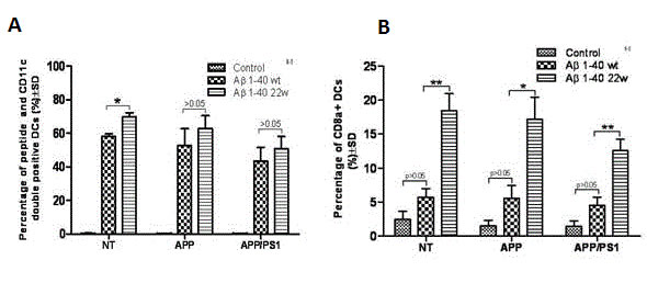 Antigen presentation by DC cells from different genotypes of 30 month old mice.