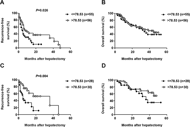 Elevated serum CXCL13 was correlated with recurrence-free survival but not overall survival.