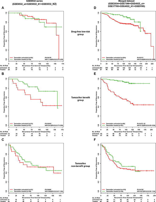 Kaplan-Meier analysis of recurrence-free survival as a function of tamoxifen treatment in different risk groups of lymph-node-negative patients.