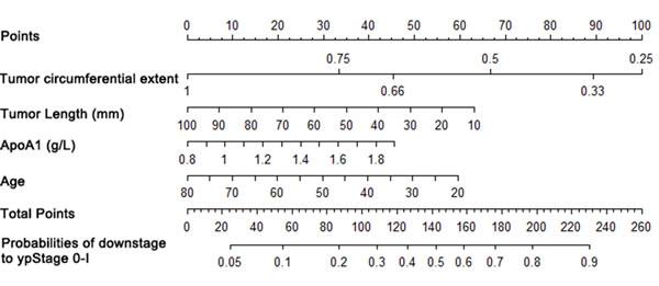 Nomogram for good down-staging prediction.