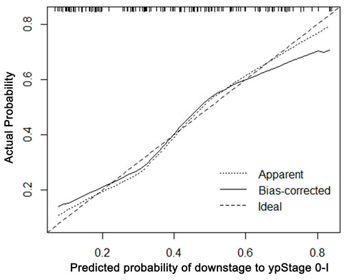 Calibration plot of the predicted and observed probabilities of regression to down-staging to ypStage 0-I.