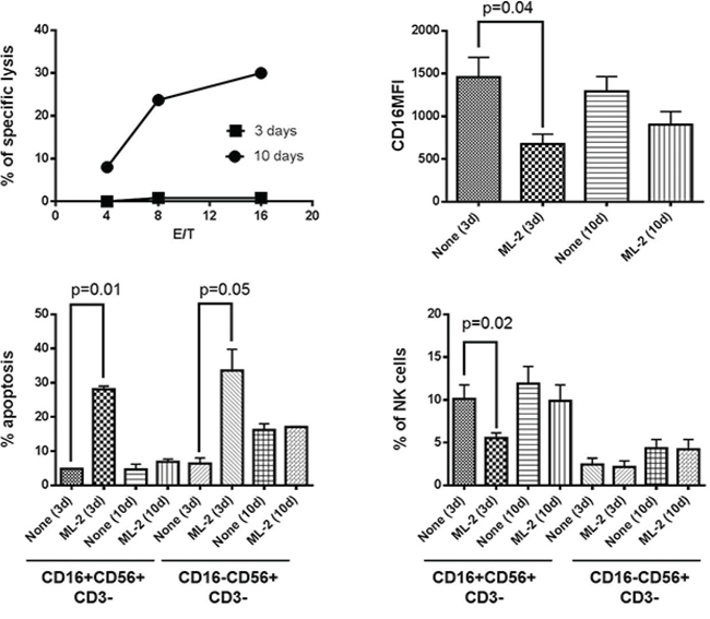 Long-term culture condition protects NK cells, in vitro, from ML-2 cell-induced NKCAs.