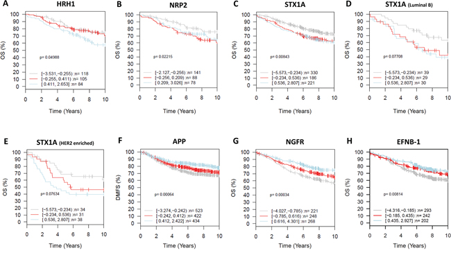 Clinical relevance of the neurogenes differentially expressed among breast cancer subtypes (GOBO database).
