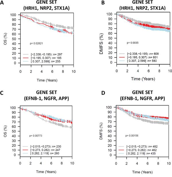 Gene Set Analysis (GSA) for selected neurogenes in gene sets, prognostic value Kaplan-Meier analysis using overall survival (OS) (HRH1, NRP2, STXA1 gene set analysis.